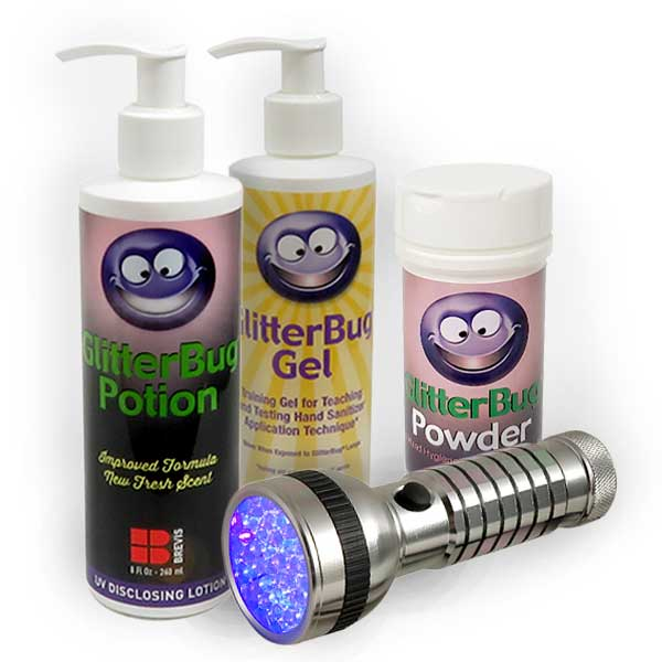 The GlitterBug Range of hand hygiene training products